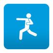 Etiqueta tipo app azul simbolo karate