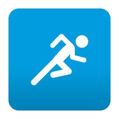Etiqueta tipo app azul simbolo corredor