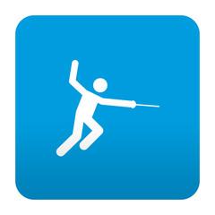 Etiqueta tipo app azul simbolo esgrima