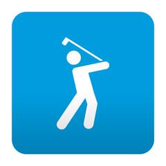 Etiqueta tipo app azul simbolo golfista