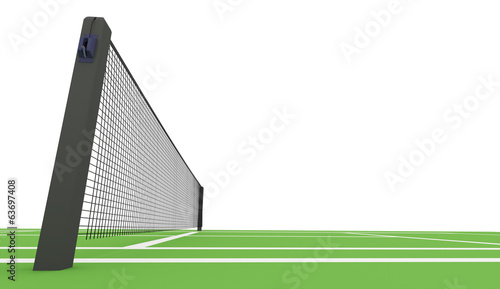 Green tennis court rendered on white