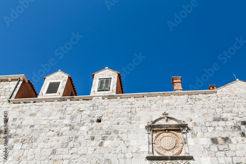 Crest on Stone Wall of Ancient Dubrovnik