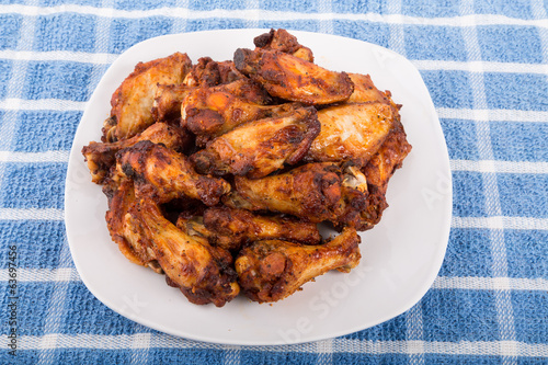 Mesquite Chicken Wings on Blue Towel