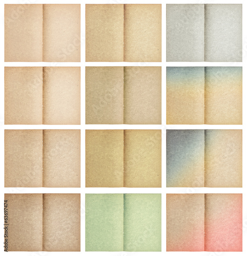 set of old paper sheets isolated on white
