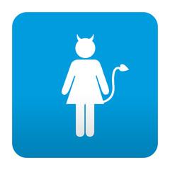 Etiqueta tipo app azul simbolo demonio femenino