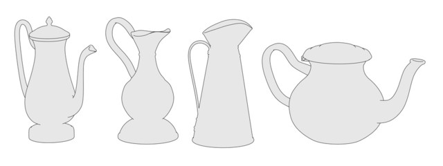 cartoon image of antique teapots