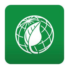 Etiqueta tipo app verde simbolo planeta verde