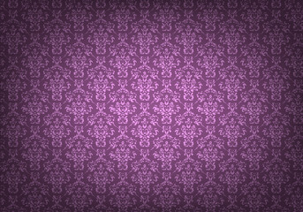 Empty old grungy room with purple vintage wallpaper