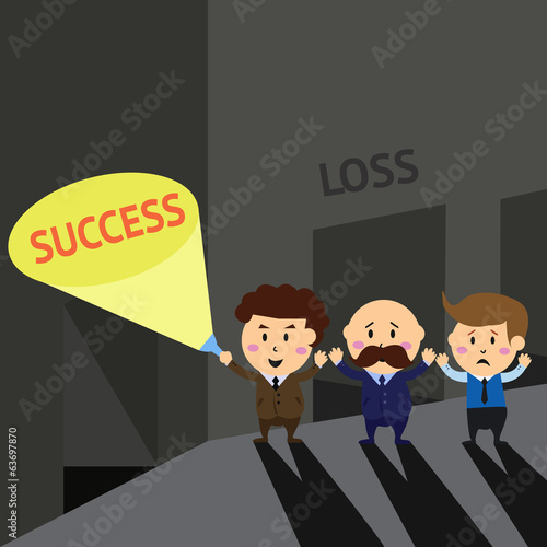 Bussiness man with flashlight find out exit to success way