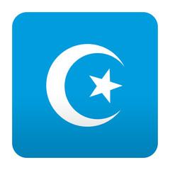 Etiqueta tipo app azul simbolo islam