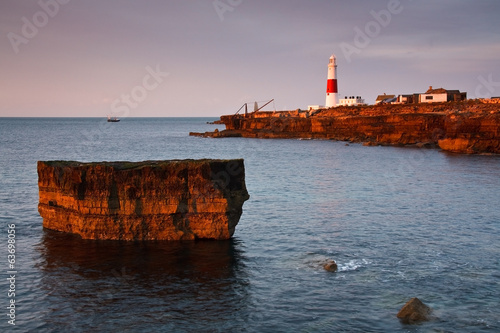 Portland Bill lighthouse on an early morning, Dorset, Uk.