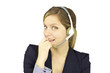 Smiling happy woman with headset