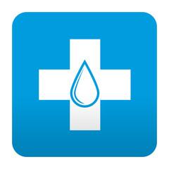 Etiqueta tipo app azul simbolo donacion de sangre