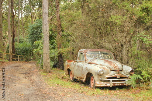 Vintage car in the woods
