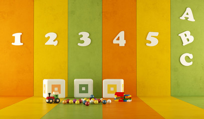 green orange and yellow playroom