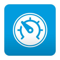 Etiqueta tipo app azul simbolo velocimetro