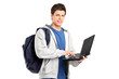Male student holding a laptop