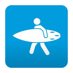 Etiqueta tipo app azul simbolo surfer
