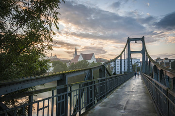 Sunset on a bridge over the Donau in Passau, Germany
