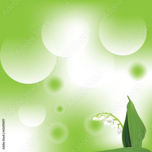 illustration with lily of the valley on green background
