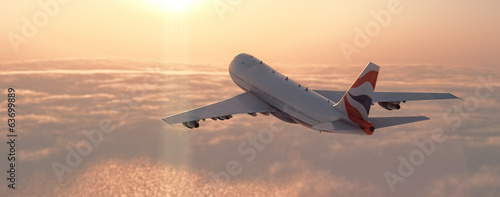 Foto op Canvas Zonsondergang Commercial airplane