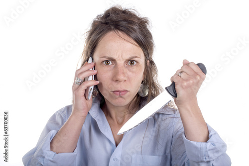 young woman with knife and phone