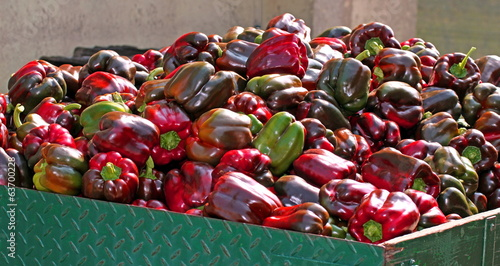 Peppers over the truck ready to be sold by greengrocers