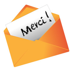 Mot de remerciement dans une enveloppe