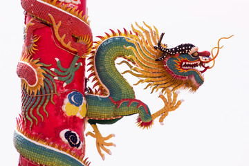 Chinese Green Dragon Wrapped around red pole on isolate backgrou