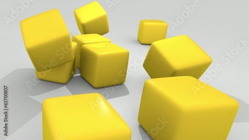 3D YELLOW CUBES