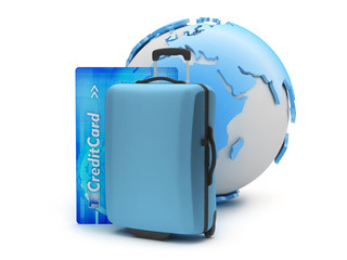 Suitcase, credit card and earth globe