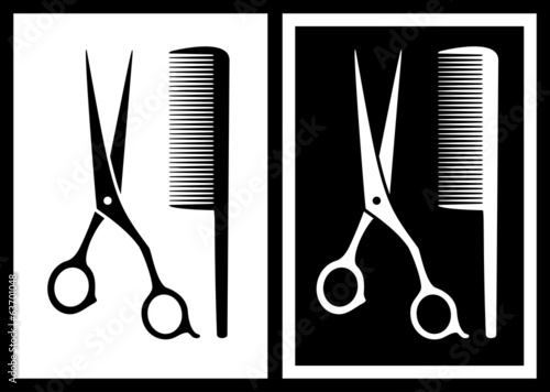 two background with scissors and comb