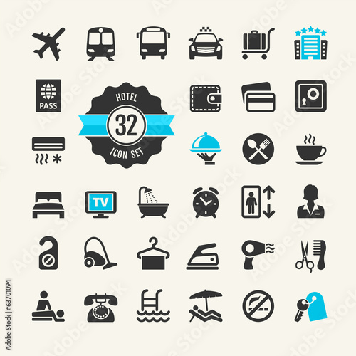 Hotel services web icon set
