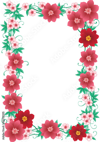 Vector Floral border with many pink  flowers