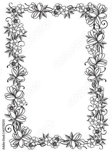 Vector Retro floral border  at engraving style.