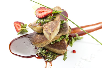 foie gras garnished with strawberries