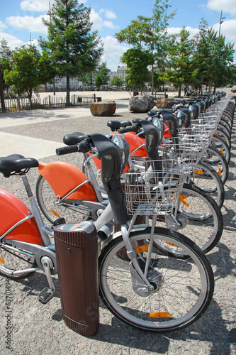 Rent a bike in city, public transportation