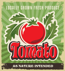 Retro vintage tomato poster, sign, label