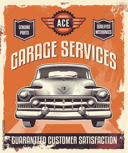 retro-vintage-znak-plakat-reklamowy-klasyczny-samochod-garaz
