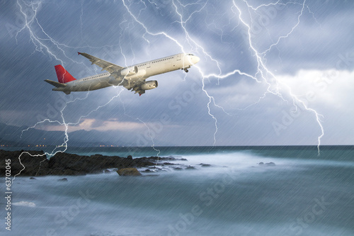 jet travelling through rainy stormy sky