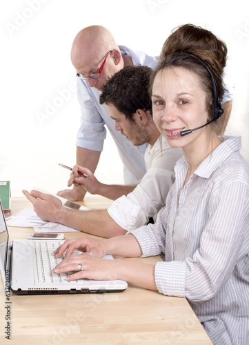 Business people working in customer service department