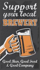 Vintage Brewery Beer Poster - Chalkboard Vector Sign