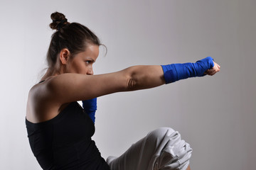 fitness woman boxing, studio shot