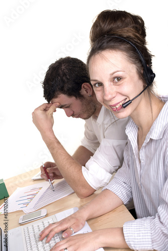 woman and man working in customer service department