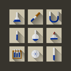 Flat icons for chemistry