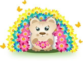Cute bear with rainbow of flowers