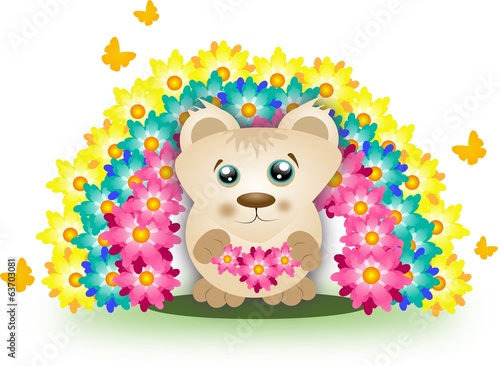 Cute bear with rainbow of flowers