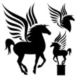 pegasus silhouette set - black winged horses