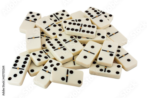 many white dominoes isolated on a white background