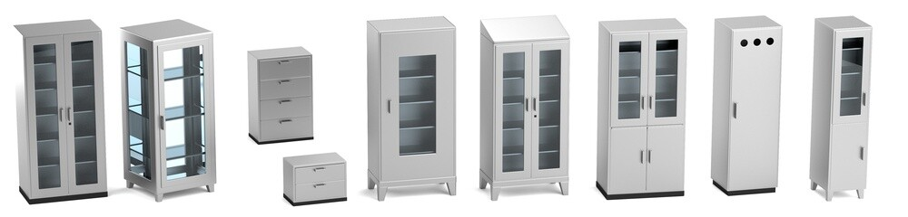 realistic 3d render of medical cabinets